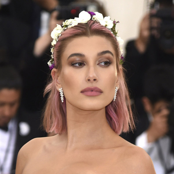 "Hailey Baldwin at the Metropolitan Museum of Art Costume Institute Gala (Met Gala) to celebrate the opening of ""Heavenly Bodies: Fashion and the Catholic Imagination"" in New York, U.S., May 7, 2018"
